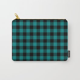 Simple Teal and Black Buffalo Plaid Carry-All Pouch