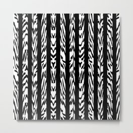Tribal Black and White Tiger Stripe Pattern Metal Print