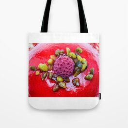 an delicious raspberry pie on an plate Tote Bag