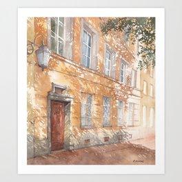 Sunny street watercolor illustration Art Print