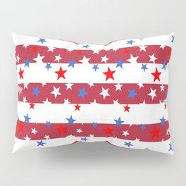 Star Spangled Red and White Stripes Pillow Sham