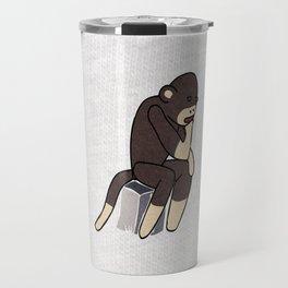 Sock Monkey Thinking Travel Mug