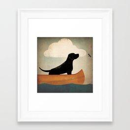 Black Lab Labrador Retriever Dog Canoe Ride Framed Art Print