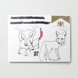 Smoking Foxes Metal Print