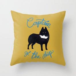 Captain Schipperke (Yellow and Blue) Throw Pillow