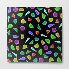 Rainbow Geometric Gem Splatter Metal Print