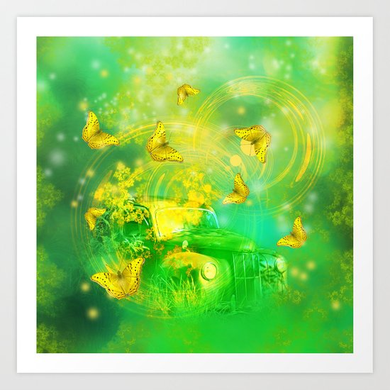 Dream wreck with butterflies Art Print