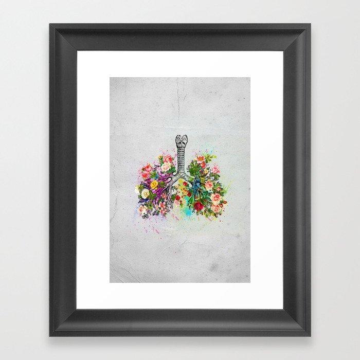 Flowers Lungs Skeleton Watercolor Framed Art Print by kalid796 ...