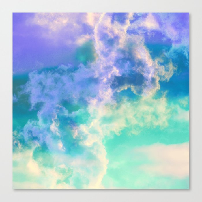 Mountain Meadow Painted Clouds Canvas Print