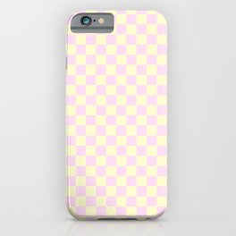 Cream Yellow and Pink Lace Checkerboard iPhone Case