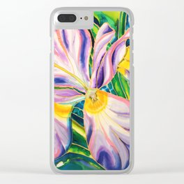 White Iris of Belize Clear iPhone Case