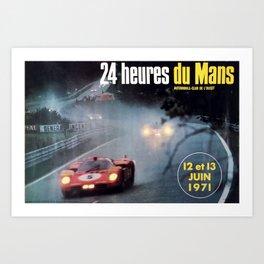 Le Mans 1972, race poster, car poster Art Print