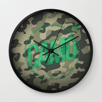 camo Wall Clocks featuring Camo by GabrieleCigna