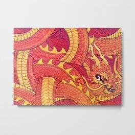 Coiled Dragon Metal Print