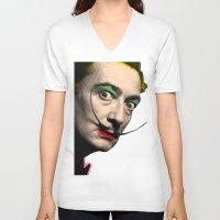 salvador dali V-neck T-shirts featuring Salvador Dali by mark ashkenazi