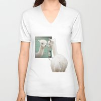 selfie V-neck T-shirts featuring SELFIE by Monika Strigel