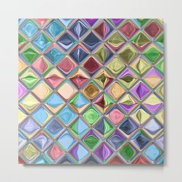 Cartoon Candy Drops Colorful Mosaic Art Metal Print