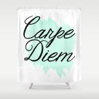 carpe diem Shower Curtains featuring Carpe Diem by Campbell Creative