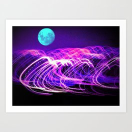 blue moon over an electric ocean Art Print