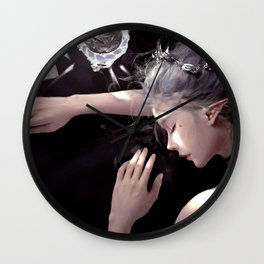 Mesmerizing Gorgeous Noble Woman Dreaming Composing Message UHD Wall Clock
