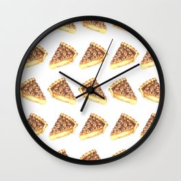 Watercolor Pecan Pie Pattern Wall Clock