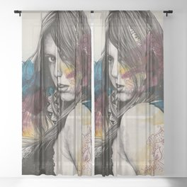 Untitled #23719 (sexy girl in black bra) Sheer Curtain