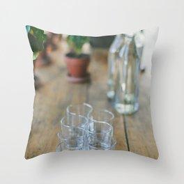 Wood Grain & Glasses  Throw Pillow
