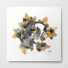 Dragon in Leaves Metal Print