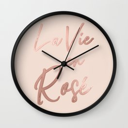 La Vie en Rose French Quote Rose Gold Pink Wall Clock