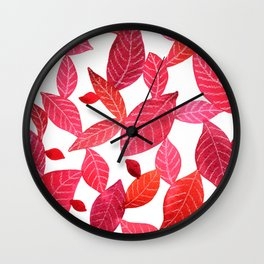 Red Leaves Pattern Wall Clock