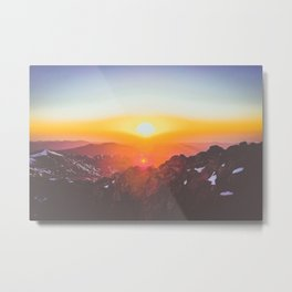 pink and orange sunrise over the mountains Metal Print