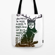 Hipster Cat giving Smart Advice Tote Bag
