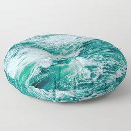 Teal Ocean Sea Waves - Summer Tropical Beach Floor Pillow