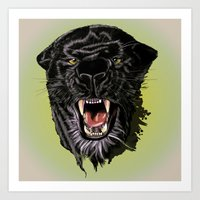 panther Art Prints featuring Panther by Tish