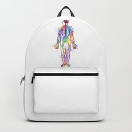 Human Body With All Nerves Art Gift Anatomy Gift Colorful Watercolor Gift Neural Art Medical Art Backpack