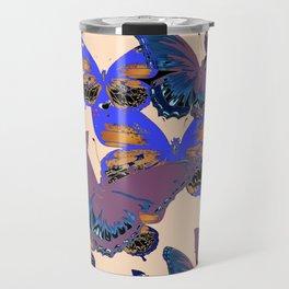 BLUE-PUCE PURPLE  BUTTERFLIES  CREAM COLOR ART Travel Mug