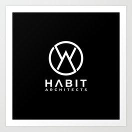 Habit Architects Logo White on Black Art Print