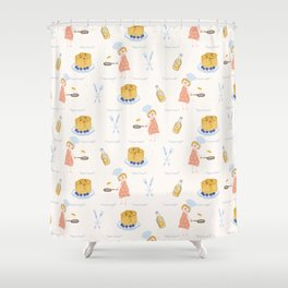 Cute girl cook with pancake and chef hat illustration Shower Curtain