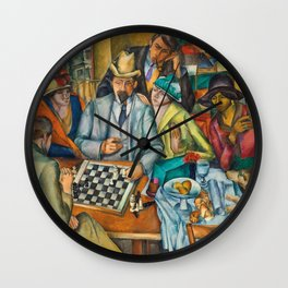 Chess Players, Paris, France, French Cafes, Left Bank, 1913 by Henryk Hayden Wall Clock