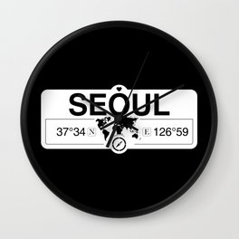 Seoul South Korea with World Map GPS Coordinates and Compass Wall Clock