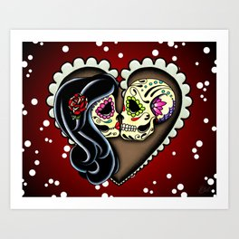 Ashes - Day of the Dead Couple - Kissing Sugar Skull Lovers Art Print