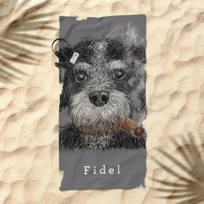Fidel - The Havanese is the national dog of Cuba Beach Towel
