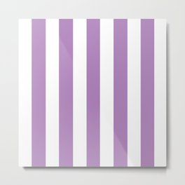 African violet - solid color - white vertical lines pattern Metal Print