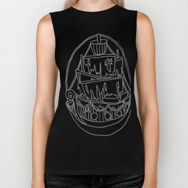 Ghost Ship Outline Biker Tank