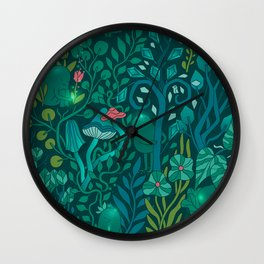 Emerald forest keepers. Magic woodland creatures. Wall Clock