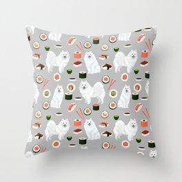 Japanese Spitz sushi kawaii dog portrait custom pet lover pattern by pet friendly Throw Pillow