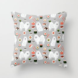 Japanese Spitz sushi kawaii dog portrait custom pet lover pattern by pet friendly Throw Pillow