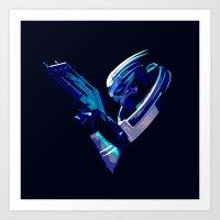 garrus Art Prints featuring Mass Effect: Garrus Vakarian by Fiona Ng