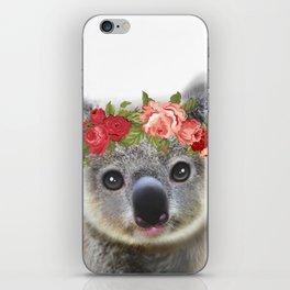 Cute Baby Animal Koala bear with Flower Crown iPhone Skin