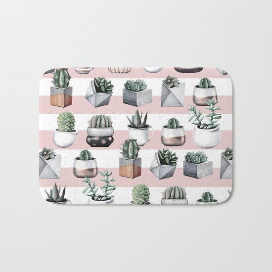 Potted Cactus Stripes Pink Rose Gold Bath Mat